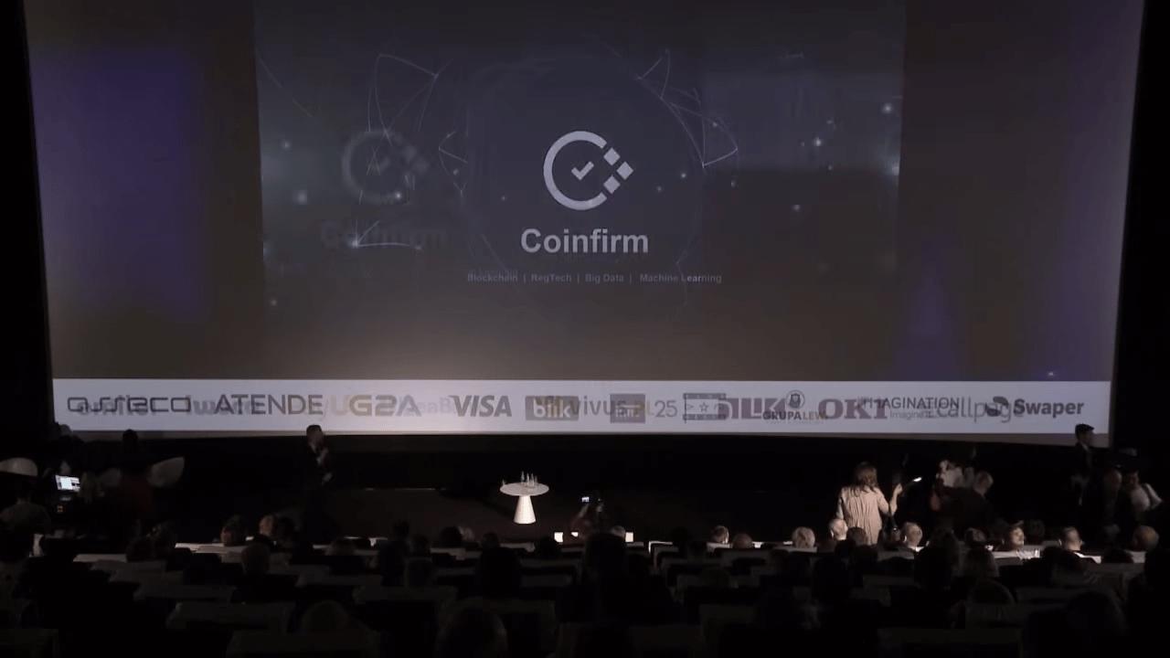 Coinfirm CEO Pawel Kuskowski presenting at FinTech Digital Congress