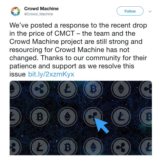 CMCT Crowd Machine Token hack Fake Twitter Ads