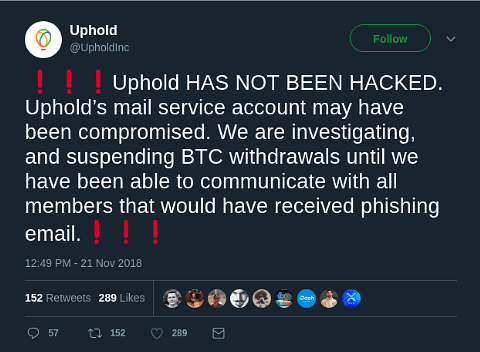 Uphold exchange Black Friday phishing attack